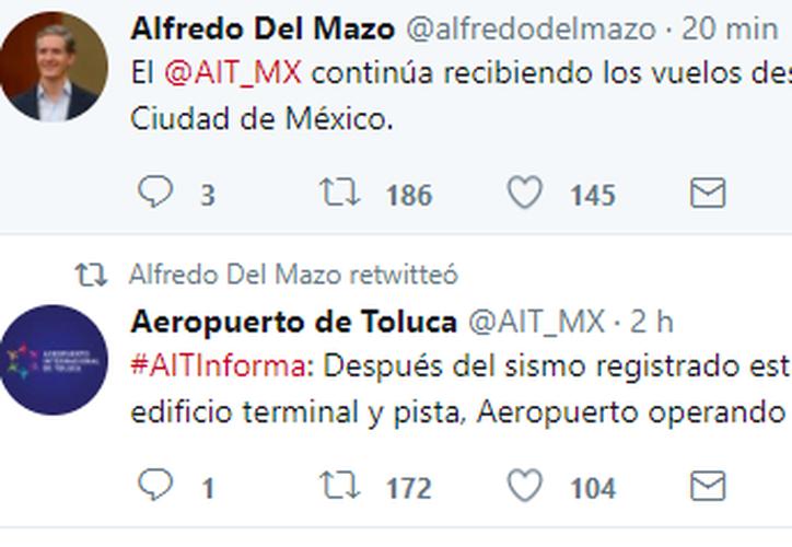 Vía redes sociales, se está informando a la sociedad de las acciones realizadas tras el sismo de 7.1 grados, registrado esta tarde. (AI de Toluca)