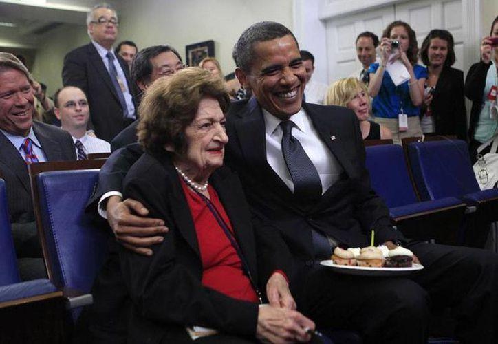 Una de las anécdotas de la periodista se dio el 4 de agosto de 2009 cuando comió pastel de cumpleaños con Barack Obama. (cdn.3news.co.nz)