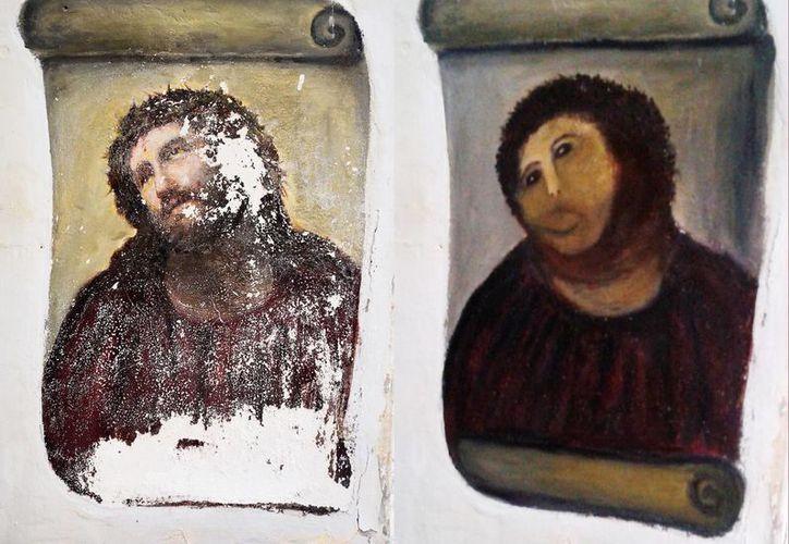 """El fresco de Cristo de 1930 """"Ecce Homo"""", a la izquierda, y la versión """"restaurada"""", a la derecha. (Agencias)"""
