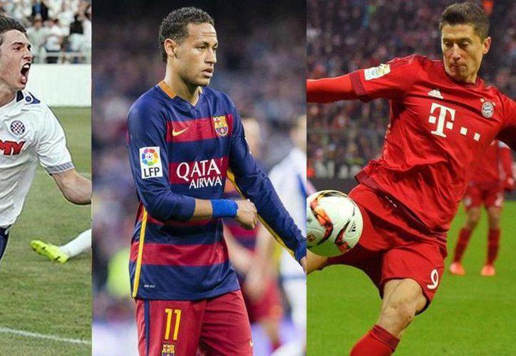 Neymar (c) es el segundo peor cobrador de penales en las cinco grandes ligas de futbol soccer de Europa. El mejor de todos es Robert Lewandowski (d). (eurosport.com)