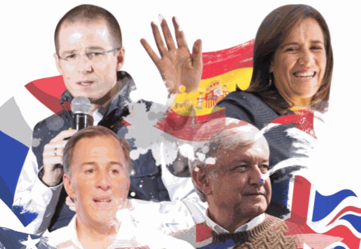 Cuatro candidatos van por la presidencia de México, tres por coalición política y la única mujer por la vía independiente. (Foto: Debate)