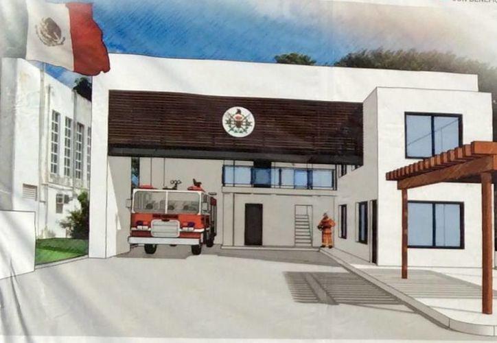 El avance de la construcción del subcentro de bomberos de Cozumel tiene 80% de avance. (Cortesía)