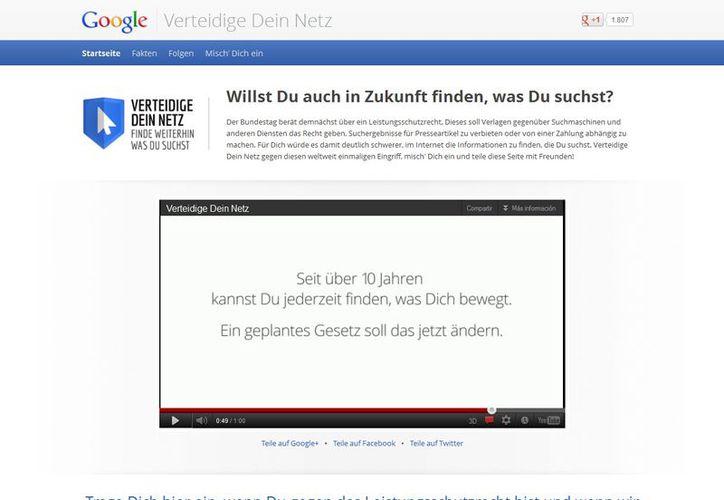 El buscador de Internet se puso en campaña y creó una página en contra de la propuesta legislativa. (google.de/DeinNetz)