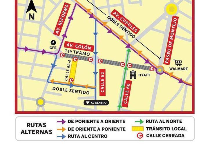 A partir de este jueves se iniciará la modernización de los tramos de la calle 62 con 60, y 60 con Paseo de Montejo, lo que implica cierre de calles y apertura de vías alternas. (SIPSE)