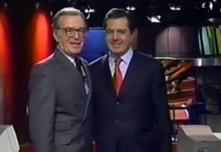 Imagen del último programa de noticias de 24 horas que conducía  Jacobo Zabludovsky acompañado de Guillermo Ortega. (Captura de pantalla/YouTube)