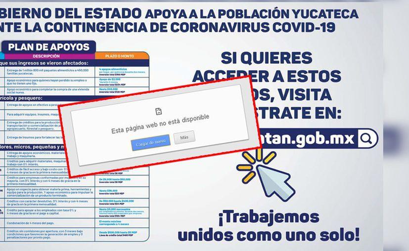 Hasta el momento no se puede accesar el sitio web del Gobierno de Yucatán.