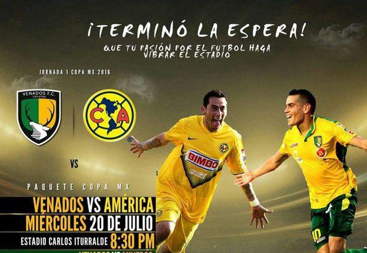 El equipo FC Venados jugará como local el 20 de julio contra América en la Copa MX. Los boletos saldrán a la venta desde el 11 de julio.