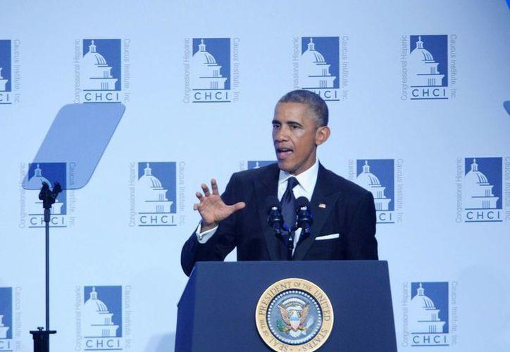 El presidente de EU, Barack Obama, evitó toda mención de las deportaciones durante su discurso de 14 minutos. (Notimex)