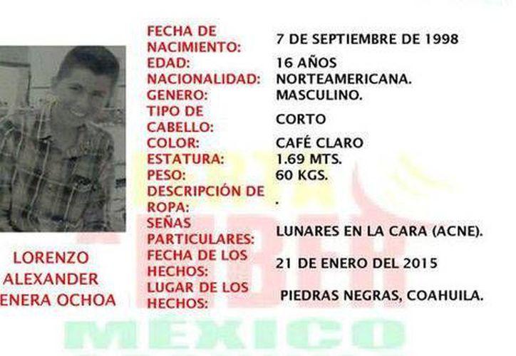 Familiares del texano Lorenzo Alexander de 16 años, habían dado aviso a las autoridades de su desaparición desde el miércoles. Hoy fue hallado muerto en Piedras Negras. (Milenio)