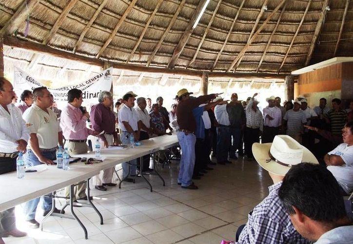 Momentos durante la toma de protesta de Ezequiel Hoil Uitzil, líder de la asociación de ganaderos unidos. (Redacción/SIPSE)