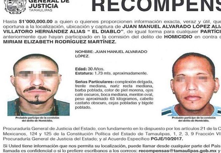 Juan Antonio Alvarado López es señalado como uno de los autores materiales de la muerte de la activista Miriam Elizabeth Rodríguez Martínez. (Excélsior).