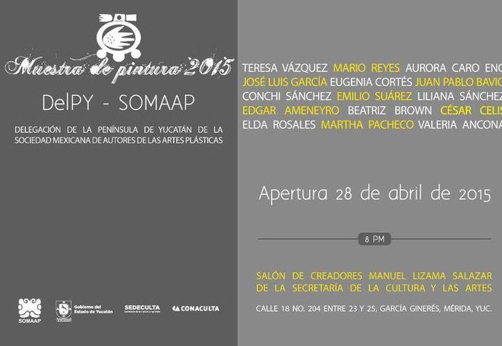 Postal de la exposición colectiva de artistas plásticos que se abre el martes 28 de abril, en Salón de Creadores 'Manuel Lizama Salazar'. (Cortesía)