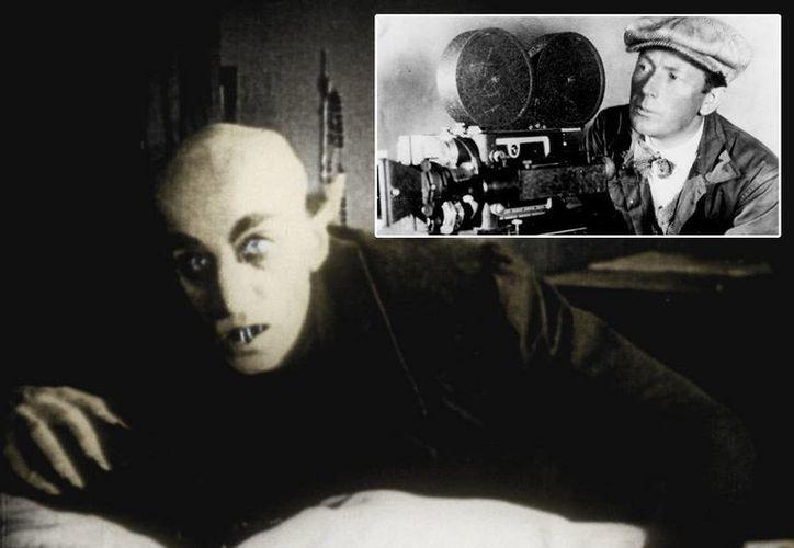 La policía alemana investiga la desaparición del cráneo del cineasta alemán Friedrich Wilhelm Murnau, director del legendario filme Nosferatu. Imagen de la cinta y a un lado del director. (Agencias)