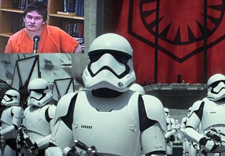 Arthur Charles Roy (recuadro) es acusado por amenazar con disparar a un compañero de la escuela después de que éste contará la trama de 'Star Wars: Episodio VII' en Facebook. (Imágenes de cbsnews.com y AP)