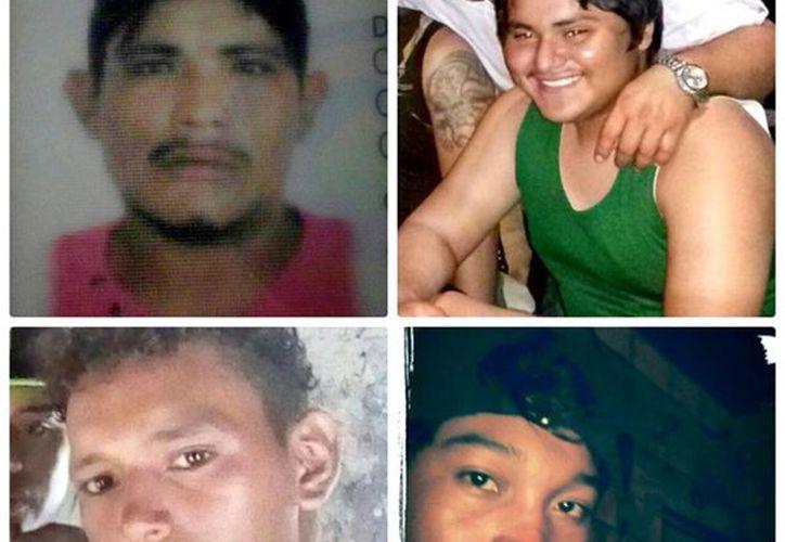 Fotos de desaparecidos: Los dos de arriba (de izq. a der.) son: Jaime Jezael Rivas Chan, de 30 años; así como Reynaldo David Flores May (17); (Abajo, en el mismo orden): Daniel Hilario Solís Chan (17) y Elías Andrés Chan Choch (16). (Milenio Novedades)