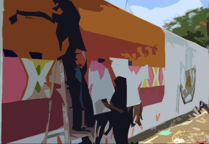 Estudiantes 'tomaron' las paredes de varios predios en Chixulub Puerto para 'decorarlos'. (Facebook/SA Prepa Uno)