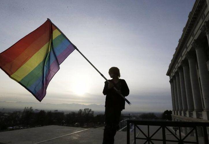 La decisión causó indignación en redes sociales, por lo que se hicieron peticiones para boicotear las bibliotecas. En la imagen una persona ondea la bandera gay. (AP)