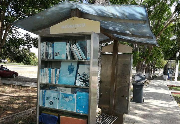 Son los estantes del Centro y la avenida Libramiento, que paradójicamente advierten con letreros a quien haga mal uso de los libros. (Foto: Javier Ortiz / SIPSE)