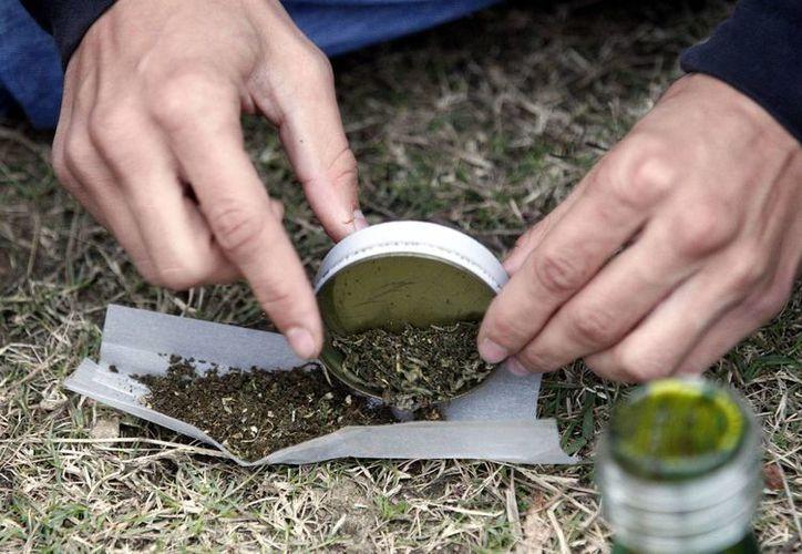 Una persona arma un cigarro de marihuana en el parque Molino de Pérez, en Montevideo. (Archivo/EFE)