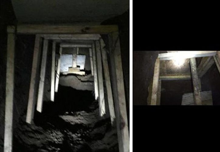 Imagen del túnel encontrado por la Policía Federal, del cual la mayor parte se encontraba en territorio estadounidense. (Cortesía Policía Federal)