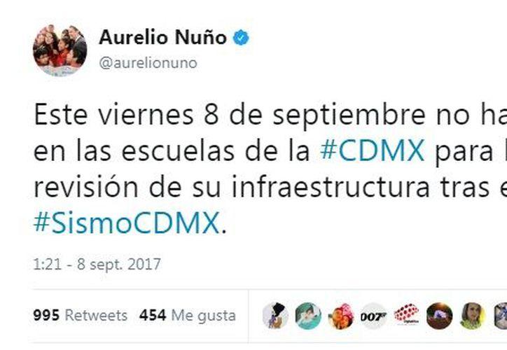 Enrique Peña Nieto anunció la suspensión de clases en un total de 11 entidades: CDMX, Chiapas, Oaxaca, Guerrero, Tabasco, Edomex, Hidalgo, Veracruz, Morelos, Puebla, Tlaxcala. (Captura Twitter).