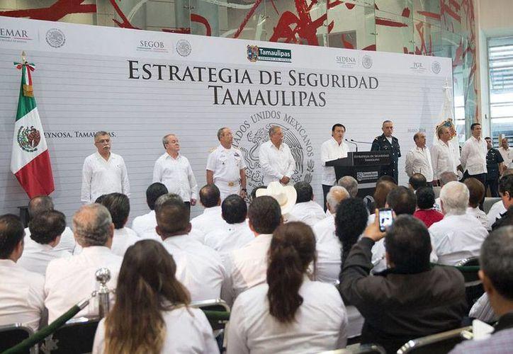 El Gobierno federal dividió en 4 regiones el estado de Tamaulipas para enviar apoyo federal. Aspecto de la presentación de la estrategia de seguridad. (NTX)