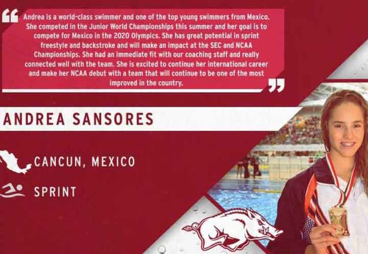 La cancunense firmó una beca deportiva con la Universidad de Arkansas. (Ángel Villegas/SIPSE)