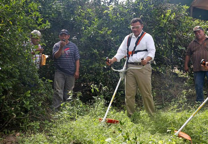 El gobernador Rolando Zapata Bello prueba uno de los equipos que entregó a productores citrícolas. (SIPSE)