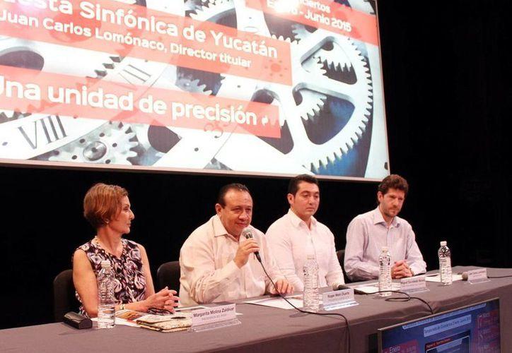Imagen de la conferencia de prensa para anunciar las presentaciones por el país de  la Orquesta Sinfónica de Yucatán. (Milenio Novedades)