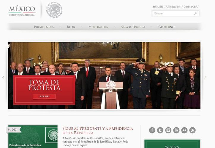 Captura de pantalla del sitio oficial de la Presidencia de la República. (presidencia.gob.mx)