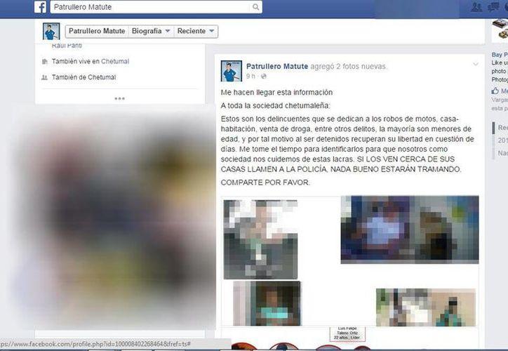 Las fotografías, donde se exhiben a presuntos delincuentes, son compartidas en la red social, Facebook. (Redacción/SIPSE)