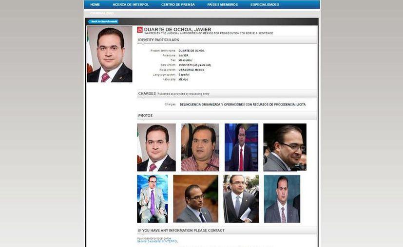 Gue hasta este martes que el gobierno mexicano pidió que parte de la ficha roja contra Javier Duarte se hiciera pública. (interpol.int)