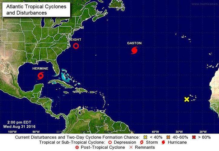 Gráfico del Centro Nacional de Huracanes de Miami, que muestra la posición de la tormenta tropical Hermine, surgida el 31 de agosto de 2016, en el golfo de México. (www.nhc.noaa.gov/)