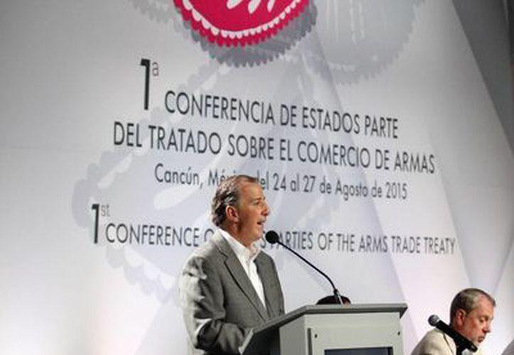 El canciller, José Antonio Meade,  formó parte de la Primera Conferencia sobre el Comercio de Armas, realizado en Cancún. (Redacción/SIPSE)