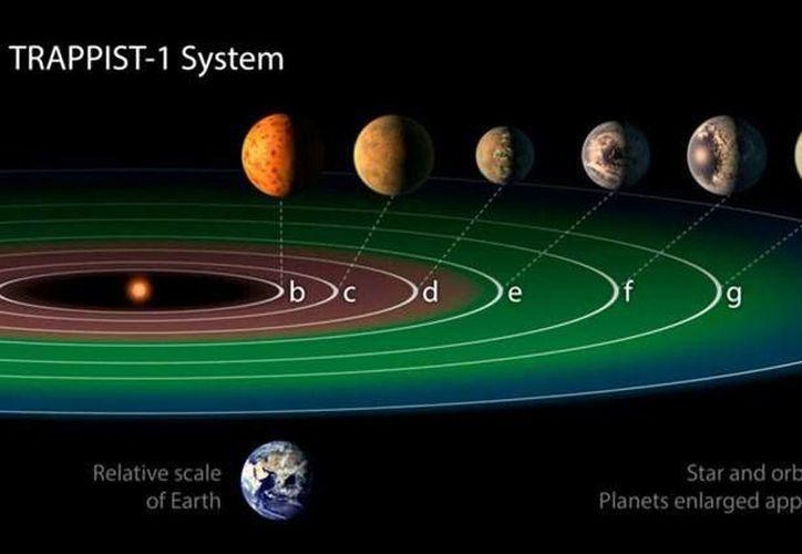 Los científicos han descubierto al menos siete planetas del tamaño de la Tierra que orbitan alrededor de la estrella enana fría conocida como TRAPPIST-1. (NASA)