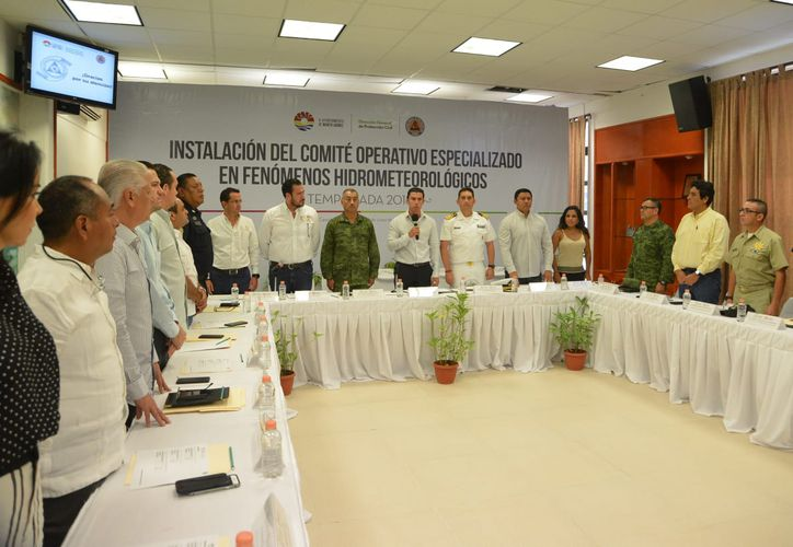 Las autoridades participaron en la instalación del Comité Operativo Especializado en Fenómenos Hidrometeorológicos. (Cortesía)