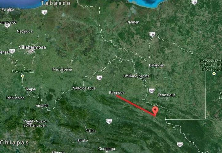 Nelson Alexander Zúñiga Matute es el sujeto que secuestró y transportaba bajo amenazas a los cuatro niños hondureños en la carretera Chancalá-Palenque, marcada en el mapa. (Google Maps)