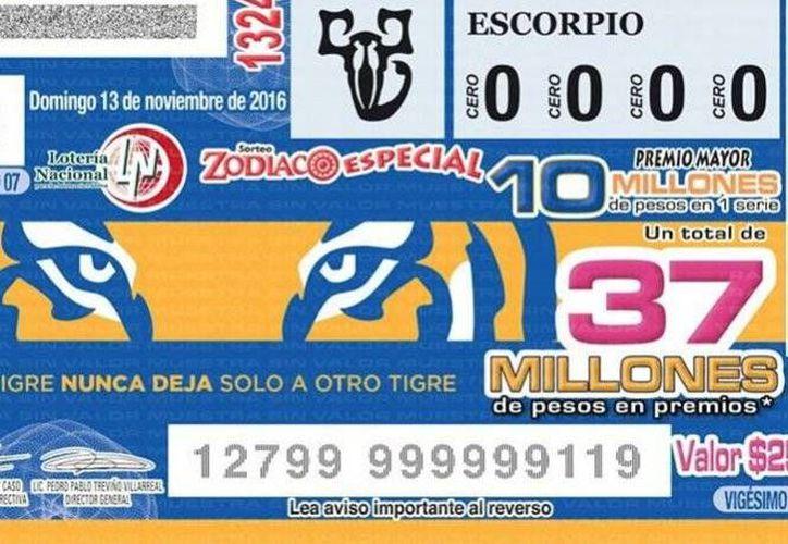 El billete alusivo a Tigres forma parte del  Sorteo Zodiaco Especial, en el cual se juegan 10 millones de pesos. (Foto tomada de Twitter director general de Lotería Nacional/ (@PedroPabloTrev)