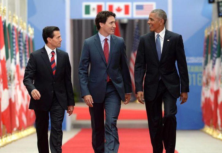El presidente de México, Enrique Peña Nieto (izq), primer ministro de Canadá, Justin Trudeau (c) y el presidente de EU, Barack Obama a su llegada a la Cumbre de Líderes de América del Norte en la Galería Nacional de Canadá. (Agencias)