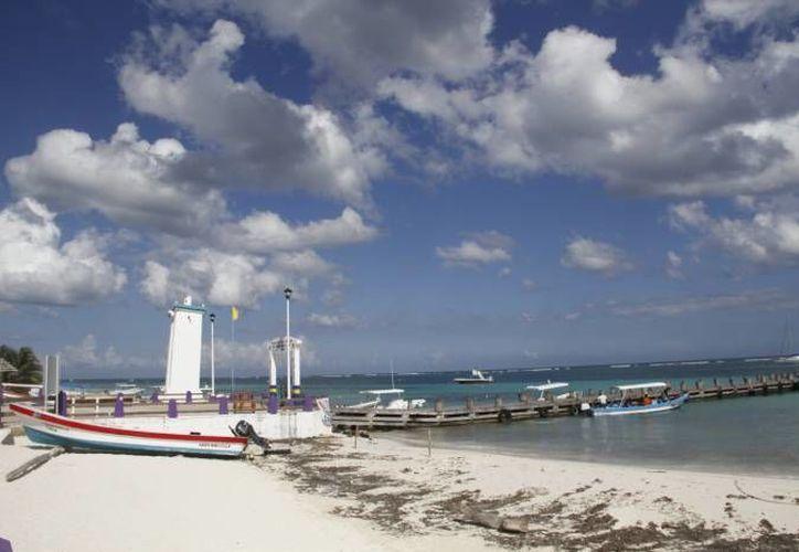 Poco a poco ha ido desapareciendo la acumulación del desecho en la arena y en la orilla del mar, con los trabajos de limpieza. (Redacción/SIPSE)