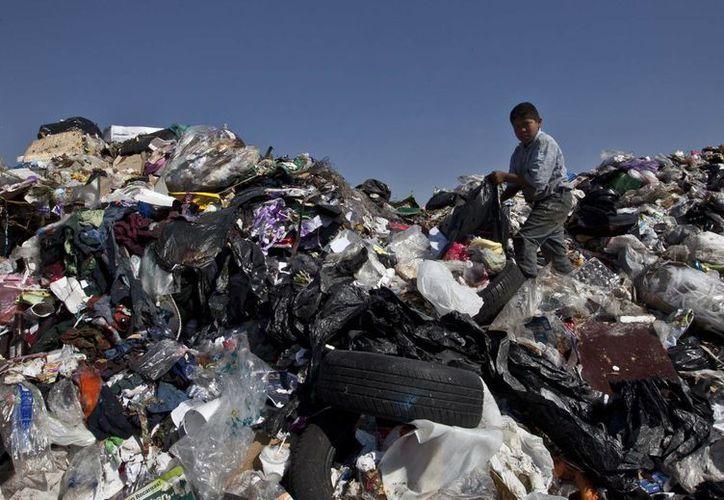 Un niño selecciona la basura para reciclar en el relleno sanitario Bordo Poniente en las afueras de Ciudad de México. (Agencias)