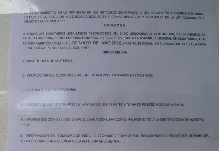 Emiten convocatoria para asamblea de ejidatarios. (Raúl Balam/SIPSE)