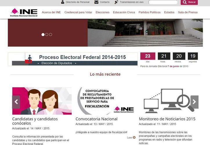 En la página del INE los ciudadanos pueden checar la información de los candidatos. (ine.mx)