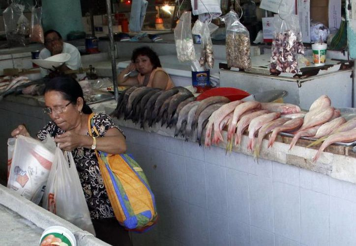 Comerciantes de mariscos esperan que sus ventas reputen. (Juan Albornoz/SIPSE)
