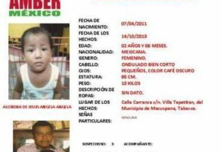 A la pequeña Alondra se la llevó su padre el 14 de octubre, tras discutir y golpear a la madre. (Foto: PGJE de Michoacán)
