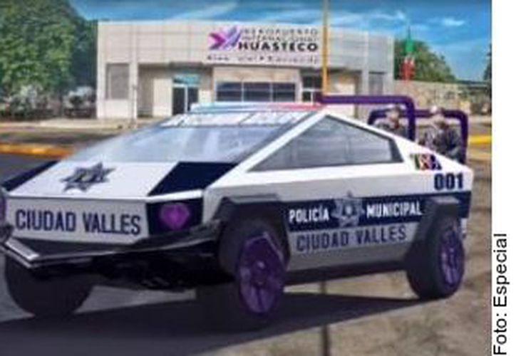 Con imágenes simulando cómo serían las camionetas balizadas con símbolos municipales de Ciudad Valles, San Luis Potosí, el Edil Adrián Esper Cárdenas aseguró que la inversión se logró porque donó 30 mil pesos para apartarlas. (Agencia Reforma)