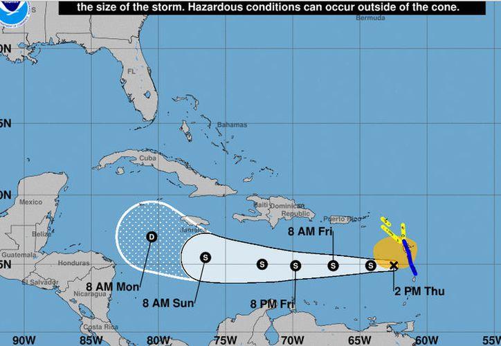 La trayectoria posible de Isaac según el Centro Nacional de Huracanes. (Noaa)
