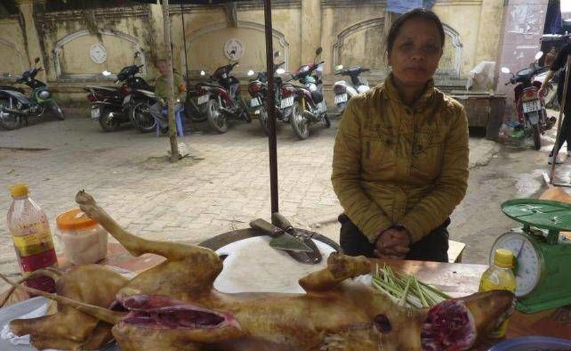 Una mujer en un puesto callejero vende un perro asado en un mercado de Tuyen Quang, al norte de Vietnam. (EFE)