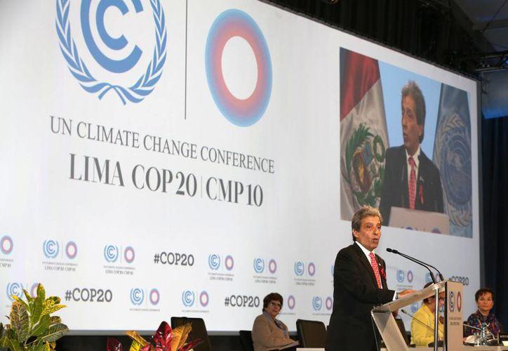 Ministro del Perú de Medio Ambiente y nuevo presidente de COP20, Manuel Pulgar-Vidal, habla durante la ceremonia de apertura de la Conferencia sobre el Cambio Climático en Lima, Perú. (Agencias)
