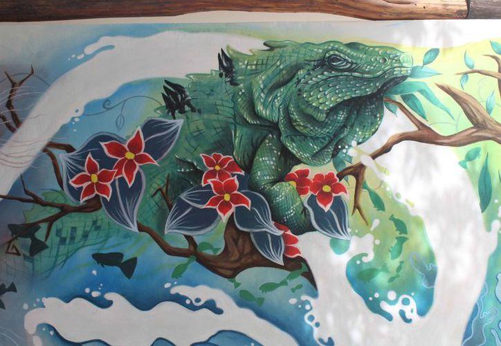 El mural presenta algunos de los animales o especies endémicas del Caribe. (Redacción)